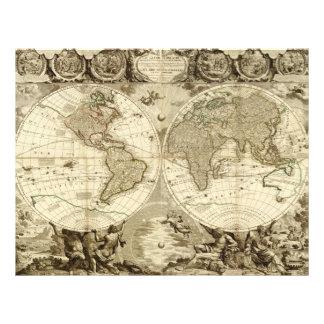 "Mapa del mundo 1708 de Jean Baptiste Nolin Folleto 8.5"" X 11"""