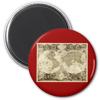 Mapa del mundo 1708 de Jean Baptiste Nolin Imán Redondo 5 Cm