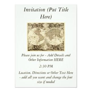 """Mapa del mundo 1708 de Jean Baptiste Nolin Invitación 6.5"""" X 8.75"""""""