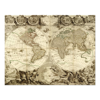 Mapa del mundo 1708 de Jean Baptiste Nolin Comunicados Personalizados