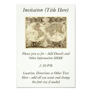 """Mapa del mundo 1708 de Jean Baptiste Nolin Invitación 3.5"""" X 5"""""""