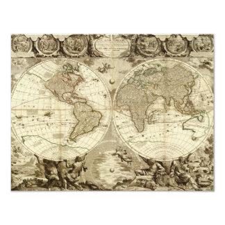 """Mapa del mundo 1708 de Jean Baptiste Nolin Invitación 4.25"""" X 5.5"""""""