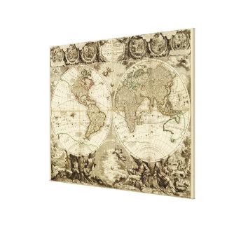 Mapa del mundo 1708 de Jean Baptiste Nolin Lienzo Envuelto Para Galerias