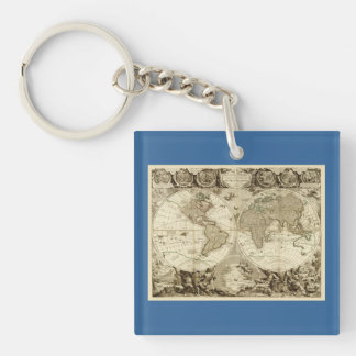 Mapa del mundo 1708 de Jean Baptiste Nolin Llavero Cuadrado Acrílico A Doble Cara