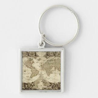 Mapa del mundo 1708 de Jean Baptiste Nolin Llavero Cuadrado Plateado