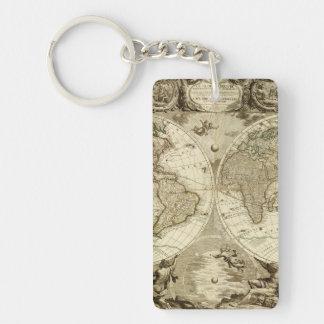 Mapa del mundo 1708 de Jean Baptiste Nolin Llavero Rectangular Acrílico A Doble Cara