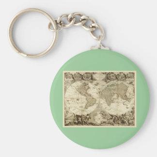 Mapa del mundo 1708 de Jean Baptiste Nolin Llavero Redondo Tipo Pin