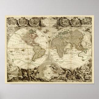 Mapa del mundo 1708 de Jean Baptiste Nolin Impresiones