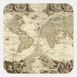 Mapa del mundo 1708 de Jean Baptiste Nolin Calcomanía Cuadrada