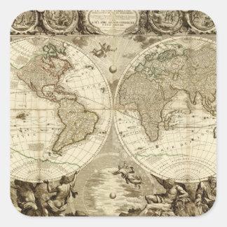 Mapa del mundo 1708 de Jean Baptiste Nolin Pegatina Cuadrada