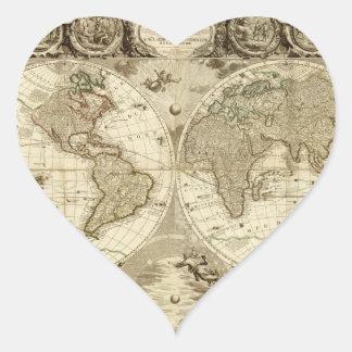 Mapa del mundo 1708 de Jean Baptiste Nolin Pegatina En Forma De Corazón