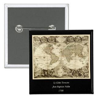 Mapa del mundo 1708 de Jean Baptiste Nolin Pin Cuadrado