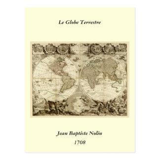Mapa del mundo 1708 de Jean Baptiste Nolin Postal