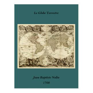 Mapa del mundo 1708 de Jean Baptiste Nolin Postales