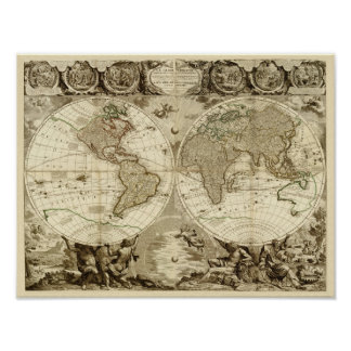Mapa del mundo 1708 de Jean Baptiste Nolin Póster
