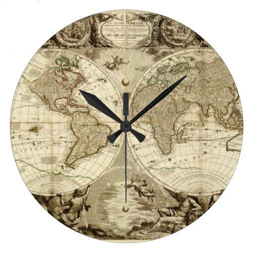 Mapa del mundo 1708 de Jean Baptiste Nolin Reloj