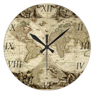 Mapa del mundo 1708 de Jean Baptiste Nolin Reloj Redondo Grande