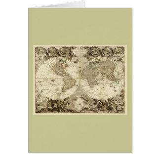 Mapa del mundo 1708 de Jean Baptiste Nolin Tarjeta De Felicitación