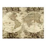 Mapa del mundo 1708 de Jean Baptiste Nolin Tarjetas Postales