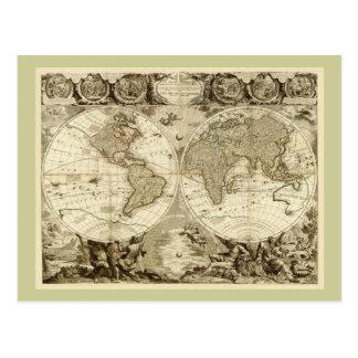 Mapa del mundo 1708 de Jean Baptiste Nolin Tarjeta Postal
