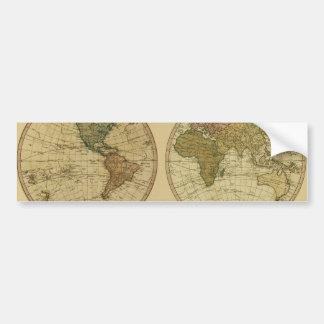 Mapa del mundo 1786 de la antigüedad de Guillermo  Pegatina Para Auto