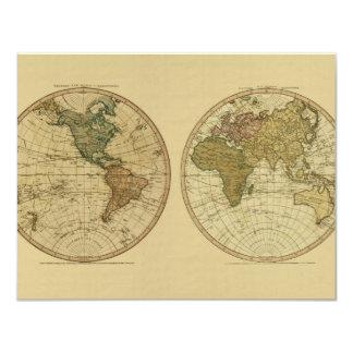 """Mapa del mundo 1786 de la antigüedad de Guillermo Invitación 4.25"""" X 5.5"""""""