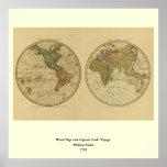 Mapa del mundo 1786 de la antigüedad de Guillermo  Posters