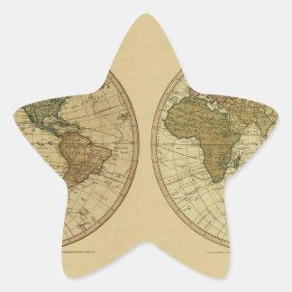 Mapa del mundo 1786 de la antigüedad de Guillermo Pegatina En Forma De Estrella