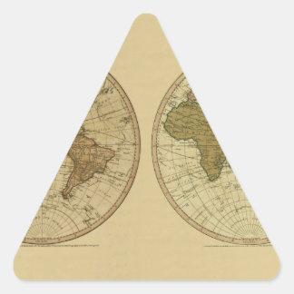 Mapa del mundo 1786 de la antigüedad de Guillermo Pegatina Triangular