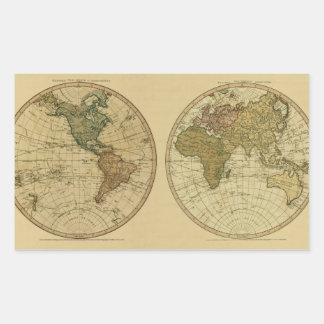 Mapa del mundo 1786 de la antigüedad de Guillermo Pegatina Rectangular