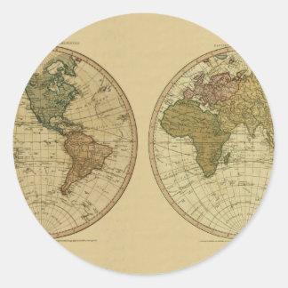 Mapa del mundo 1786 de la antigüedad de Guillermo Pegatina Redonda
