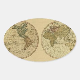Mapa del mundo 1786 de la antigüedad de Guillermo Pegatina Ovalada