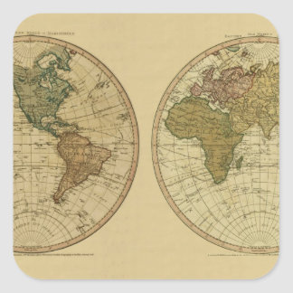 Mapa del mundo 1786 de la antigüedad de Guillermo Pegatina Cuadrada