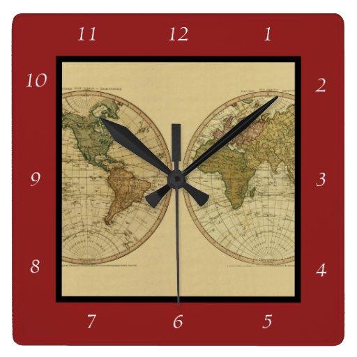 Mapa del mundo 1786 de la antigüedad de Guillermo  Relojes