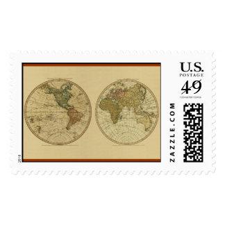 Mapa del mundo 1786 de la antigüedad de Guillermo Franqueo