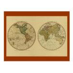 Mapa del mundo 1786 de la antigüedad de Guillermo  Postales