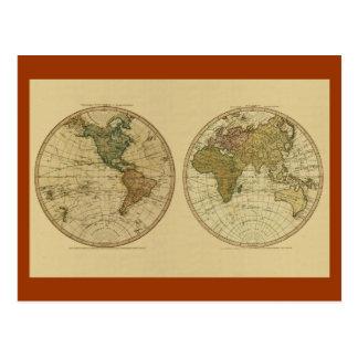 Mapa del mundo 1786 de la antigüedad de Guillermo Tarjetas Postales