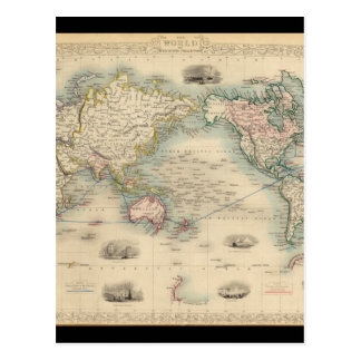Mapa del mundo 18 de Exhausteds Tarjeta Postal