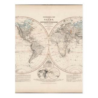 Mapa del mundo 18 de Exhausteds Tarjetas Postales