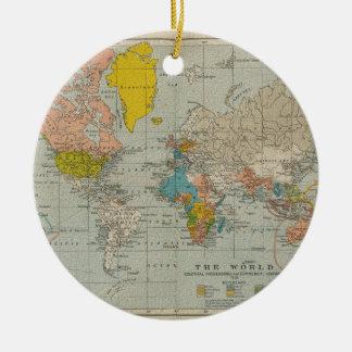 Mapa del mundo 1910 del vintage adorno navideño redondo de cerámica