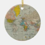 Mapa del mundo 1910 del vintage adornos de navidad