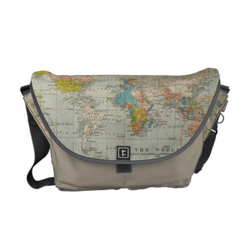 Mapa del mundo 1910 del vintage bolsa de mensajeria
