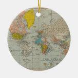 Mapa del mundo 1910 del vintage adorno redondo de cerámica