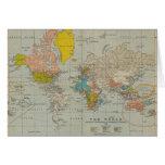 Mapa del mundo 1910 del vintage felicitaciones