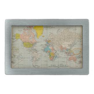 Mapa del mundo 1910 del vintage hebilla de cinturón rectangular