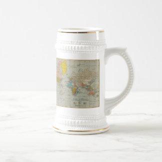 Mapa del mundo 1910 del vintage jarra de cerveza
