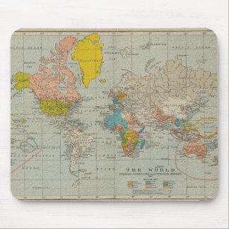 Mapa del mundo 1910 del vintage mouse pad
