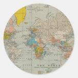 Mapa del mundo 1910 del vintage pegatina redonda