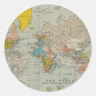Mapa del mundo 1910 del vintage pegatinas redondas