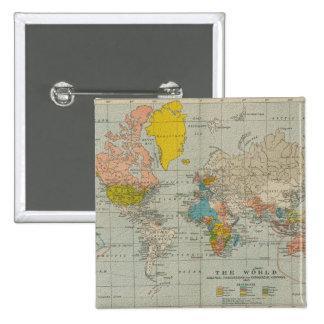 Mapa del mundo 1910 del vintage pin cuadrado